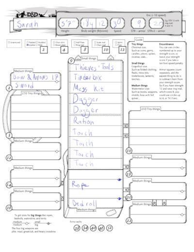 5e inventory sheet